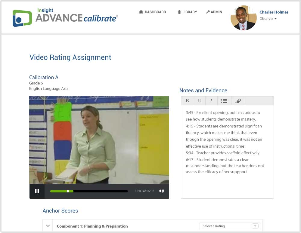 Calibration tools for observers & coaches - ADVANCEcalibrate