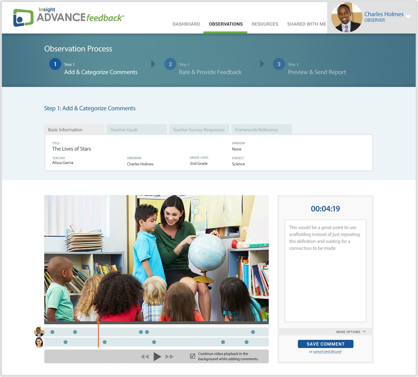 ADVANCEfeedback - video-based and live observation, coaching and evaluation